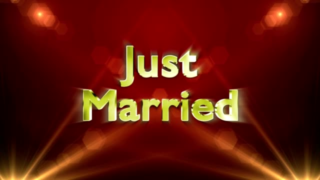 Just Married Lights Rays Text Animation, Loop video