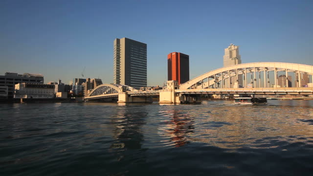 Kachidoki Bridge and Sightseeing boat in Tokyo, Japan video