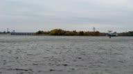 Kakhovka HPP, ship and seagulls video