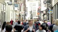 Kalverstraat shopping street Amsterdam city center video