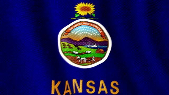 Kansas flag waving animation video