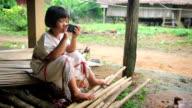 Karen's girls playing smart phone,Dolly shot video