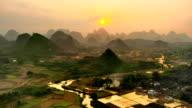 Karst area rural sunset glow video