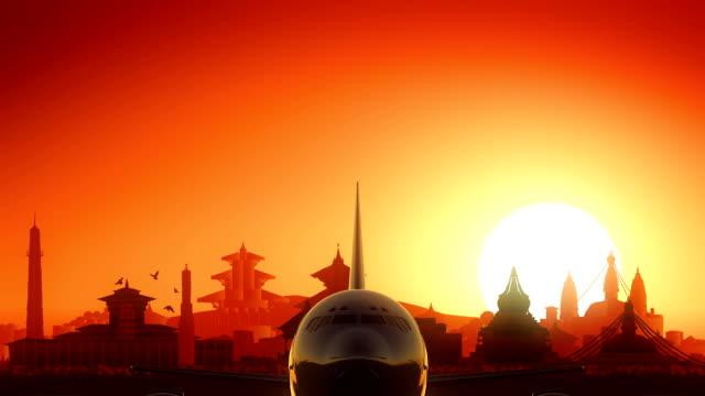 Kathmandu Airplane Take Off Skyline Golden Background video