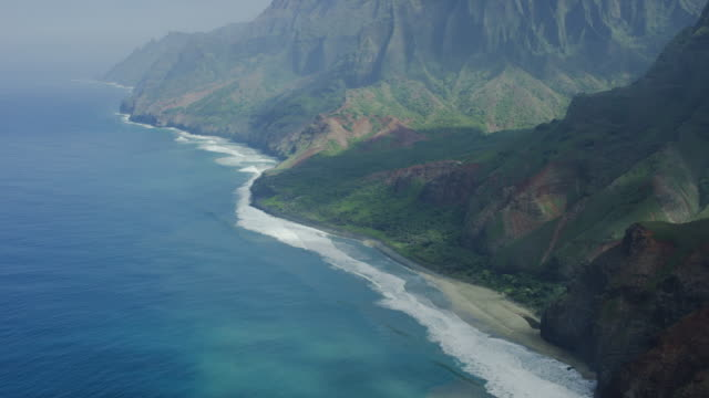Kauai, Hawaii Napali Coast Waterfall, Aerial Shot video