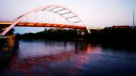 Kayaker Cumberland River Paddling Under Bridge Nashville Tennessee video