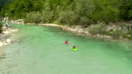 HD: Kayakers Paddling Down The River video