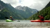 HD: Kayakers Splashing With Paddles video