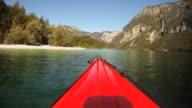 HD TIME-LAPSE: Kayaking along a lake coast. video