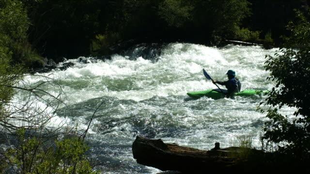 Kayaking down river, slow motion video