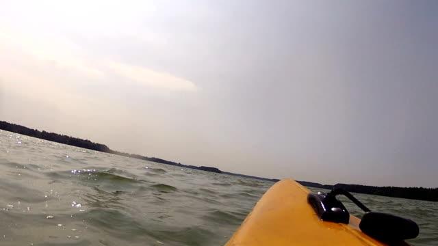 Kayaking in bad weather. video