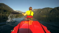 HD SLOW-MOTION: Kayaking on a beautiful day. video
