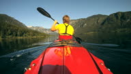 HD: Kayaking on a calm water. video