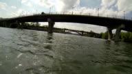 Kayaking under Lamar Bridge and Pedestrian Walking bridge in Austin , Texas Town Lake on the Colorado River video