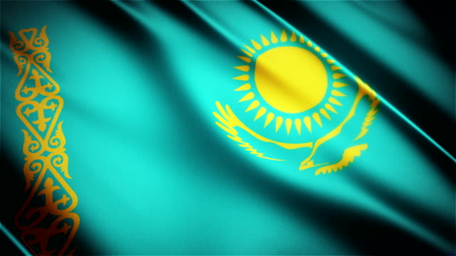 Kazakhstan realistic national flag seamless looped waving animation video