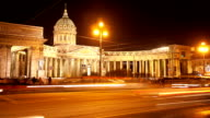 Kazan Cathedral at night. St Petersburg. Russia. timelapse. video