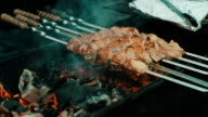 Kebabs are cooked on the grill video