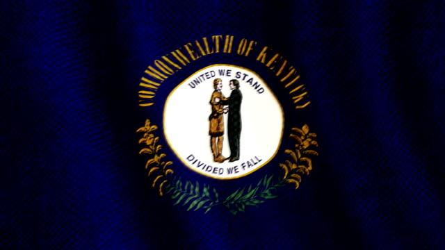 Kentucky flag waving animation video