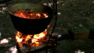 HD Kettle with cooking meat in forge video