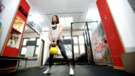 Kettlebell training in gym video