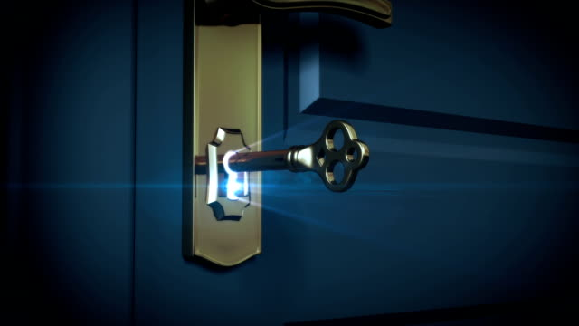 Key unlocking lock and door opening to a bright light video