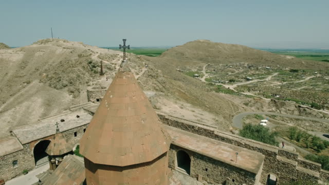 Khor Virap Monastery in front of Ararat Mountain, aerial view video