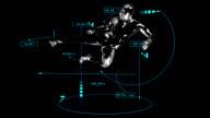 3D TAEKWONDO kick man with technical data video