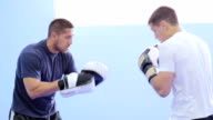 Kickbox fighters sparring in the gym video