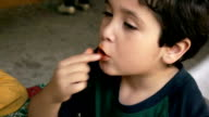 Kid Eats Cheese Chip Snacks video