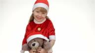 Kid girl hugging a teddy bear video
