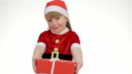 Kid girl offering a gift in a red box video