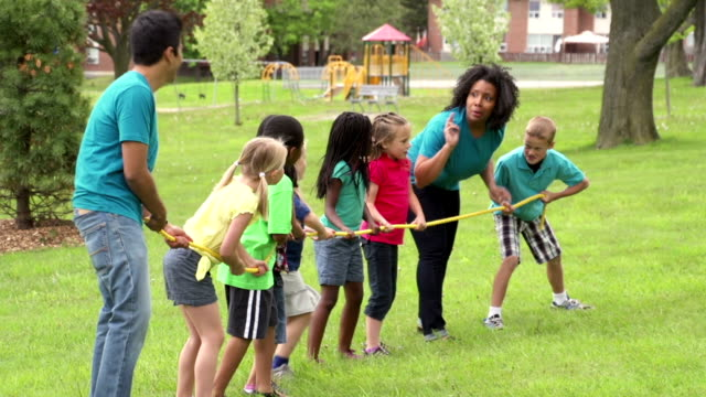 Kids and Camp Counselors Tug Of War video