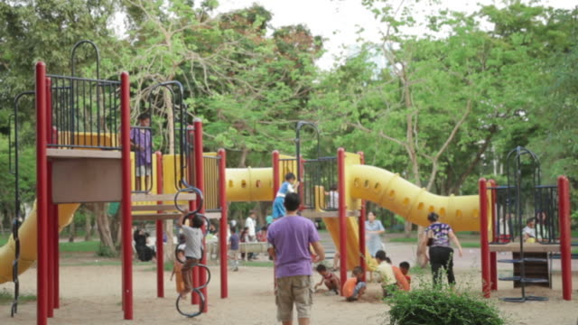 kids and parents at park playground video