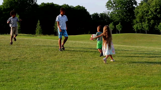 Kids are playing on evening glade. video