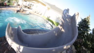 Kids going down water slide into pool video