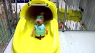 Kids Going Down Water Slide video