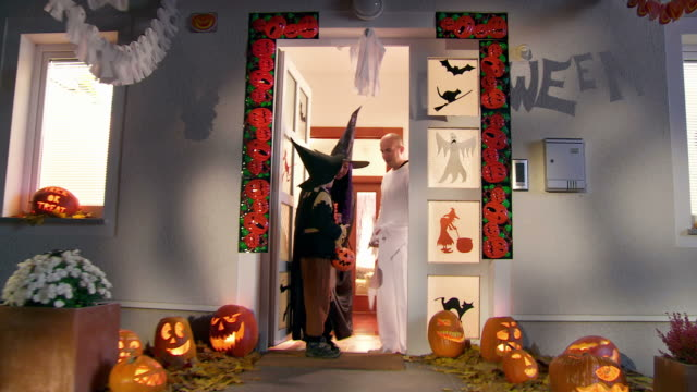HD CRANE: Kids Going Out On Halloween video