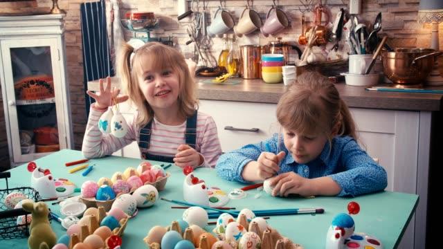 Kids Painting Easter Eggs video