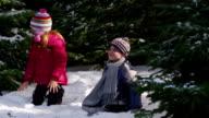 Kids throwing snow in winter video