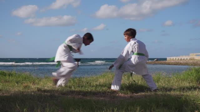 Kids Training At Karate School For Sport Activity Leisure Fun video