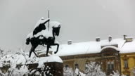 King Tomislav square with statue while heavy snowing, Zagreb video