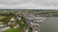Kinsale town in Co Cork Ireland aerial view video