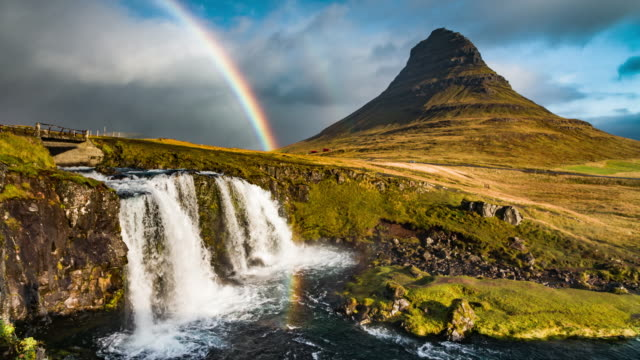 Kirkjufell mountain,Iceland with Rainbow video