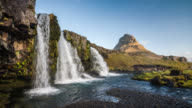 Kirkjufellsfoss Waterfall and Kirkjufell Mountain in Iceland video