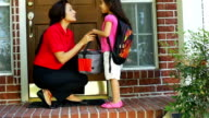 Kiss for mom and cheerfully off to school slow motion video