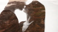 Kissing couple double exposure over beach sunset video