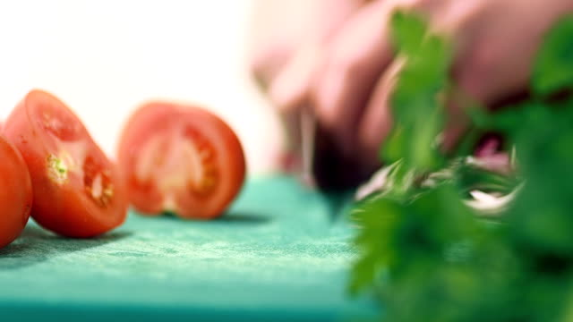Kitchen activities - cutting vegetables video