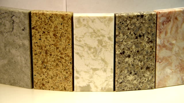Kitchen counters made of granite and marble, worktops video