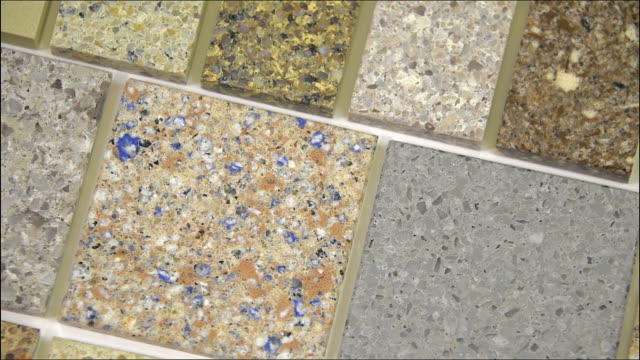 Kitchen granite counter top  sample display, worktop video