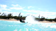 Kite Boarding Trick In Slow Motion, Extreme summer sport hd. video
